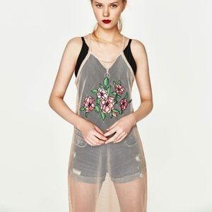 NWT Zara Trafaluc Nude Floral Mesh Dress M